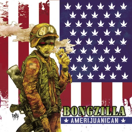 Bongzilla - Amerijuanican LP Blood Red, White and Aqua Blue Tri Color Merge with Olive Green and Brown Splatter